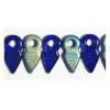 Glass Bead 19x9mm Cobalt Blue Aurora Borealis Half Coating Loose